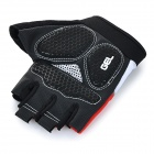WOLFBIKE Half-Finger Silicone Cycling Gloves - Red + Black (L)