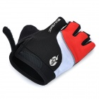 WOLFBIKE Half-Finger Silicone Cycling Gloves - Black + Red (XL)
