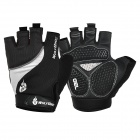 WOLFBIKE Anti-Shock Half-Finger Silicone Cycling Gloves - Black + White (M / Pair)