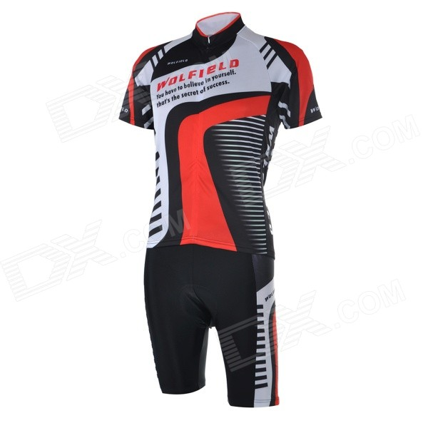 WOLFBIKE BC410 Men's Cycling Jersey + Pants Suit - Black + Red (XXL)
