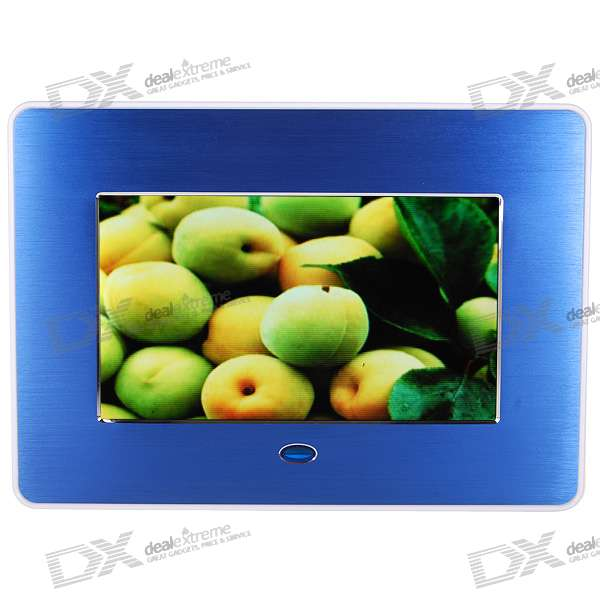 "7"" Wide Screen TFT LCD Digital Photo Frame with AV-Out and SD/MMC/MS/USB Slots - Blue (480*234px)"