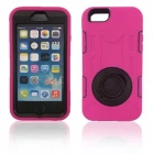 Shockproof Anti-dust TPU Back Case Cover Armor w/ Holder Ring for IPHONE 6 - Deep Pink