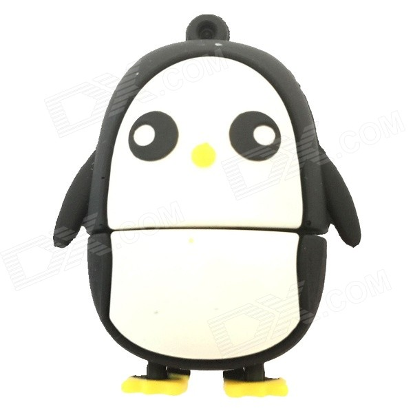 QR8G Cartoon Penguin Style USB 2.0 Flash Drive - Blanc + Noir (8 Go)
