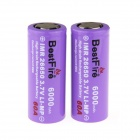 "BestFire 3.7V ""6000mAh"" Flat Head 26650 Rechargeable Battery - Purple (2 PCS)"