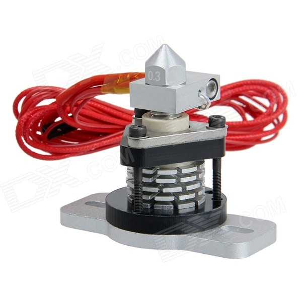 Geeetech RepRap Hot End V2.0 extrusiekop voor 3D Printer Zilver (0.3mm Nozzle-3mm filament)