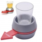 Plastic Drinking Game Spinning Wheel + Glass Set - Rot + Grau