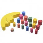 Wood Moon Balancing Game Educational Toy - Yellow + Multicolored