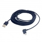 CY U2-306-BK-5.0M 90 Degree Angled Micro USB Male to USB 2.0 Male Data Charge Cable - Black (500cm)