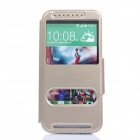Stylish Flip-Open PU + TPU Case w/ Stand / View Window for HTC One M8 - Golden