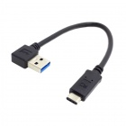 CY U3-204-LE USB 3.1 Type C to 90 Degree Angled A Male Cable - Black