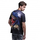 XINGLONG 3D Effect Tyrannosaurus Design Short-sleeved T-shirt - Black + Multi-Colored (Size XL)