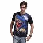 XINGLONG 3D Effect Tyrannosaurus Design Short-sleeved T-shirt - Black + Multi-Colored (Size XXL)