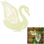 Swan Shaped Wedding Decorative Card / Table Card - Light Yellow