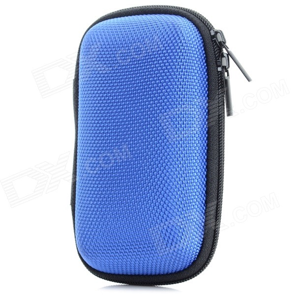 Portable Shock-resistant Zipper Storage Bag Pouch for In-Ear Earphones, MP3 Player -  Blue + Black