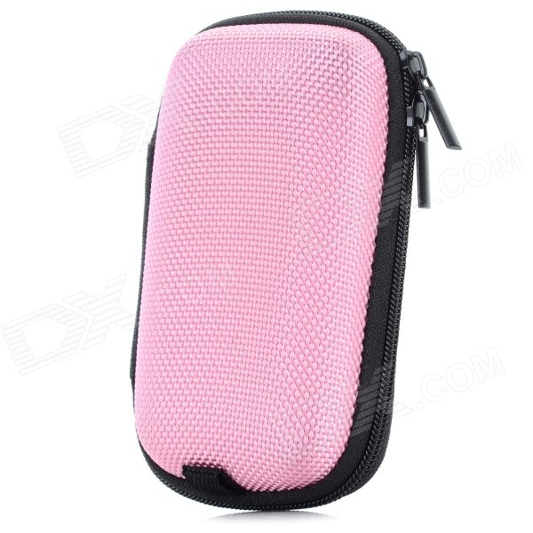 Portable Shock-resistant Zipper Storage Bag Pouch - Pink + BlackGadgets<br>Form ColorPink and blackQuantity1 DX.PCM.Model.AttributeModel.UnitMaterialABS + nylonShade Of ColorPinkCompatible ModelsMP3 player / USB flash drive / Bluetooth headset / USB cable, etc.FeaturesPortable and shock resistancePacking List1 x Bag<br>