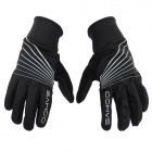 SAHOO 42902 Breathable Wind-Resistant Warm Full-Finger Cycling Gloves - Black (Size M / Pair)