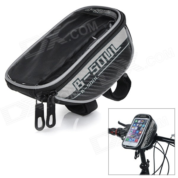 B-SOUL B-015 Bicycle Handlebar Mounted 5.7 Phone Bag - Black + SilverBike Bags<br>Form  ColorBlack + SilverModelB-015Quantity1 DX.PCM.Model.AttributeModel.UnitMaterialPVC + PUTypeHandlebar BagsCapacity1 DX.PCM.Model.AttributeModel.UnitWaterproofNoGenderUnisexBest UseMountain Cycling,Recreational Cycling,Road CyclingPacking List1 x Bike bag<br>