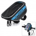 "B-SOUL B-015 Bicycle Handlebar Mounted 5.7"" Phone Bag - Black + Blue"