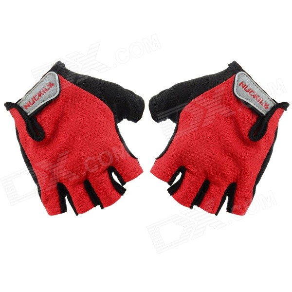 NUCKILY PC03 Men's Half-Finger Cycling Gloves - Red + Black (M)