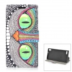Cheshire Cat Pattern PU Leather Case for Huawei P6 - White + Black + Multicolored
