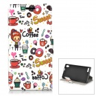 Cartoon Pattern PU Leather Case for Huawei P6 - White + Red + Multicolored
