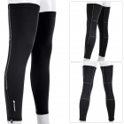 NUCKILY F005 Cycling UV Protection Elastic Breathable Leg Warmers Sleeves - Black (XXL / Pair)