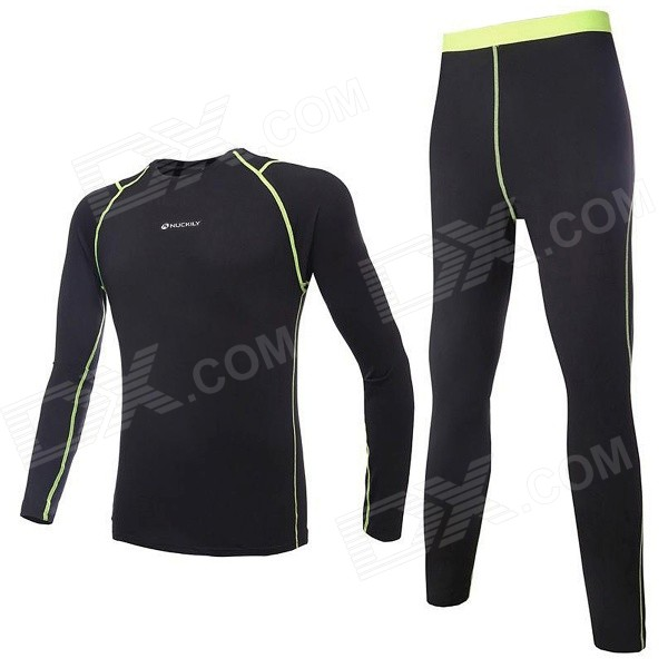 NUCKILY Men's Tight-Fitting Thermal Running Cycling Polartec Long Jersey + Pants Set - Black (XL)