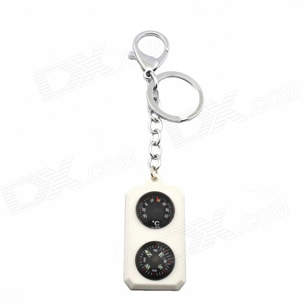 ABS Compass + Thermometer Keychain - White+Slver