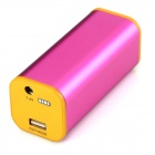 JZR-035 Universal USB + DC Output 4400mAh Li-ion Power Bank for Bike Flashlight - Orange + Deep Pink