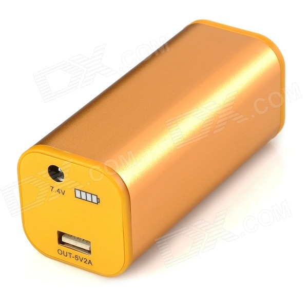 4400mAh Rechargeable Power Bank for Flashlight / Cellphone - Golden