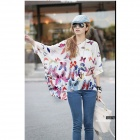 Hainan Scenery Pattern Bohemian Style Casual Shirt Top - White + Multi-Colored (Size M)