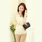 Fashionable Slim Round Neck Long-sleeved Lace Top Shirt - White (Size M)
