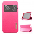 Ultra-Thin PU + TPU Flip-open Case w/ Stand / Display Window for IPHONE 6 PLUS - Deep Pink