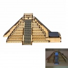 JZ08 DIY Automatic Solar Light Sensing Colored Drawing Mayan Pyramid Toy - Wood Color