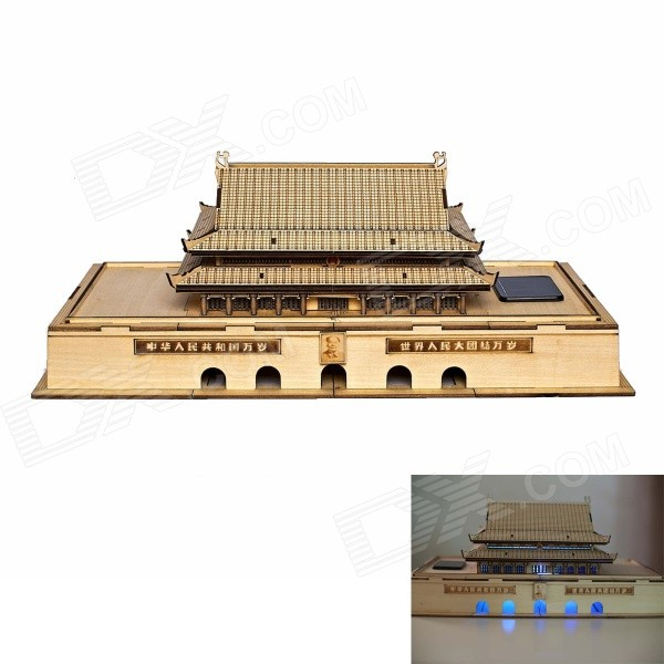 DIY Tian An Men Style Colored Drawing + Automatic Solar Light - Yellow