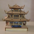 DIY Yueyang Tower Colored Drawing + Automatic Solar Light - Yellow