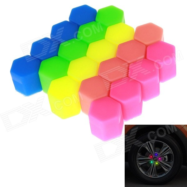 17 # Glow-in-the-Tumma silikoni Car Wheel Ruuvi Cover - Multicolored