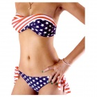 Women's Sexy US Flag Pattern Polyester Bikini Swimwear Swimsuit - Red + Blue + White (M)