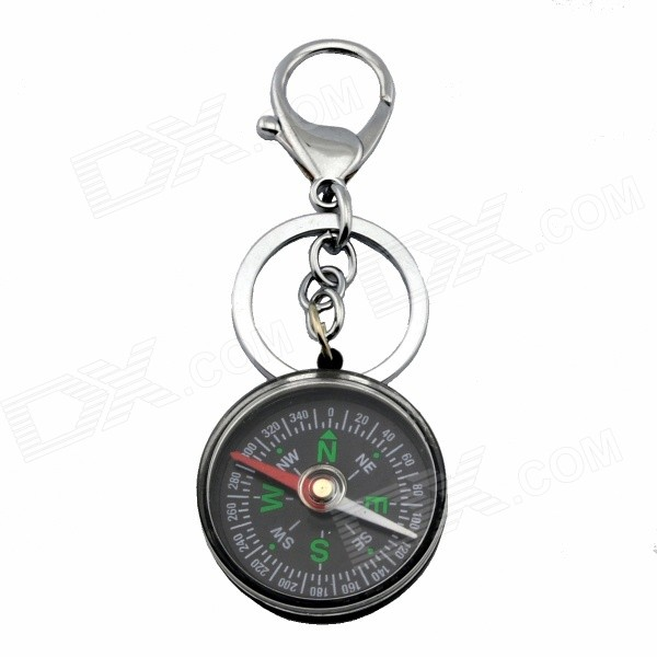 Multifunctional Compass Key Ring Keychain - Black + Silver