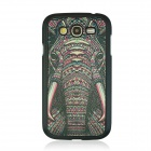 Elephant Vein Pattern Hard Case for Samsung 9082 - Black + Deep Pink + Multicolored