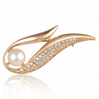 eQute XPEW28C3 Fashionable Imitation Pearl + Cystals Decorated Brooch - Golden
