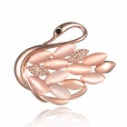 eQute XPEW31C4 Fashionable Swan Kiss Cystal Shawl Buckle /  Brooch - Pink