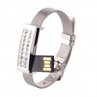 Fashion Rhinestones Decorated USB 2.0 Flash Drive Bracelet - Silver (32GB)