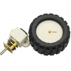DIY DC 6.0V 56RPM Gear Motor with Mounting Bracket Rubber Tire - Black