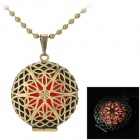 Fashionable Retro Hollow Out Style Pendant Necklace - Red