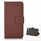 Stylish Flip-Open PU + TPU Case w/ Card Slot for Sony Xperia E3 - Coffee + Black