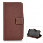 Protective PU + TPU Flip-Open Case w/ Card Slot for Moto G2 - Coffee + Black