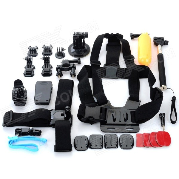 Chest Belt + Mount + Helmet Belt Accessories Set for GoPro - Black