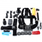 12-in-1 Multifunctional Accessories w/ Chestbelt, Mount, Helmet Belt, Base + More for GoPro - Black