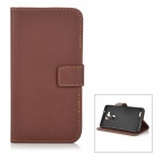Protective PU + TPU Flip-Open Case w/ Card Slots for Huawei Mate 7 - Coffee